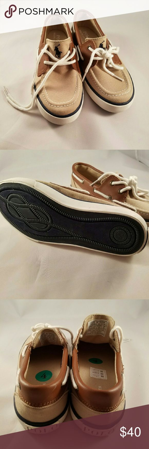 NEW Kids Polo Ralph Lauren Boat Shoes Size 4 New without box. The manufacturer color name is sander. Polo by Ralph Lauren Shoes Sneakers