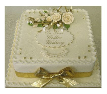 50th anniversary sheet cakes pictures | Rose Spray Golden Wedding Anniversary Cake