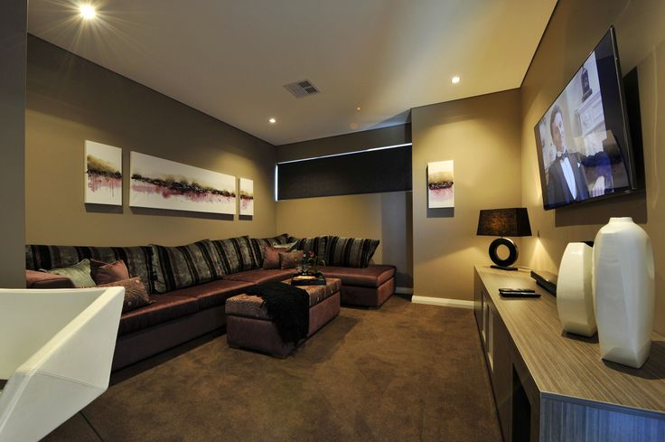 Upstairs multi purpose theatre room in display home.