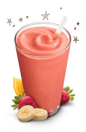 Orange Julius Strawberry Banana  Minutes to Prepare:5   Ingredients 3 oz Orange Juice 1 Banana 1 cup Frozen Strawberries 1/2 cup milk 1/2 cup water 1 teaspoon of vanilla extract 1 teaspoon of sugar