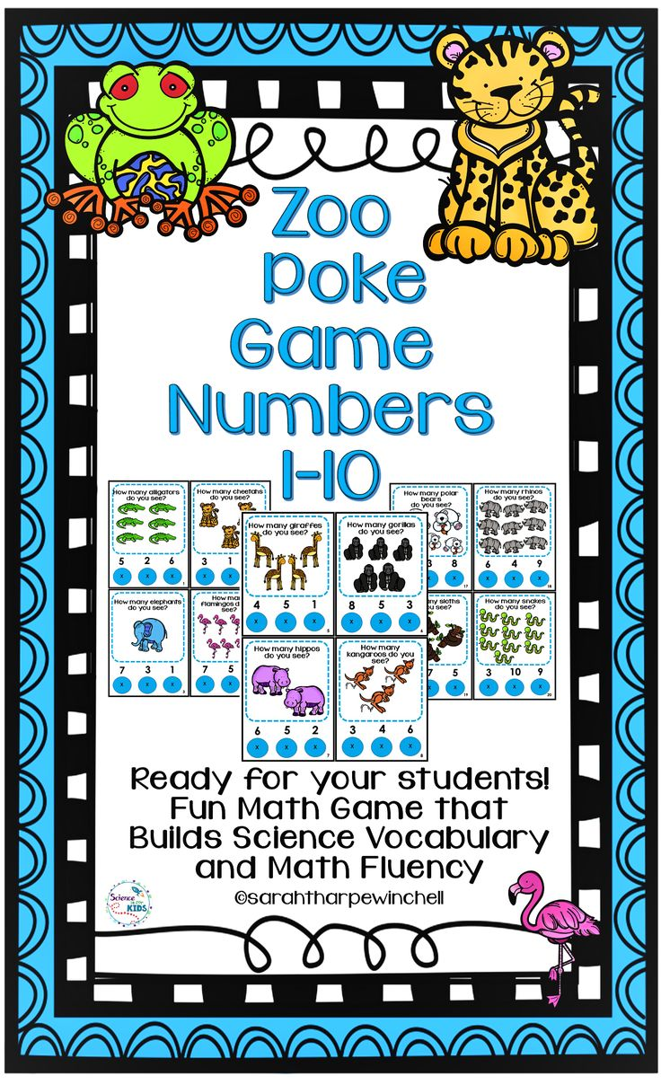 Zoo Animals Poke Game Build Math Fluency and Science Vocabulary at the same time. Numbers 1-10. Pre-K. Kindergarten First Grade and Home School.