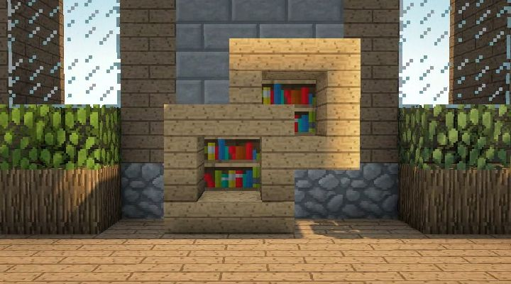 Minecraft Furniture - Storage You could pull a lever or something and have the bookcase open up and have chests behind it