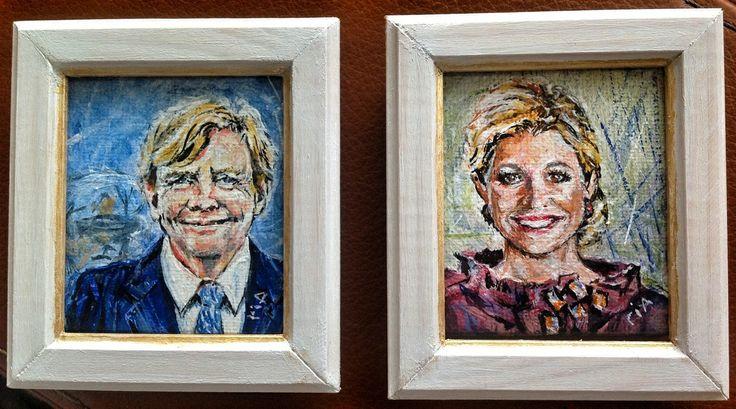 Ria Post Miniature paintings. De Koning en Koningin van Nederland in handgemaakte lijstjes.