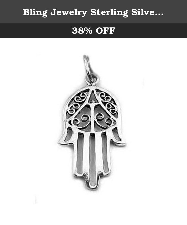 Bling Jewelry Sterling Silver Islamic Hand of Fatima Hamsa Amulet Pendant. The Hamsa symbol is all the fashion rage right now as with other spirituality oriented jewelry. This quality 925 sterling silver Hamsa pendant has a filigree design on the hand, giving the symbol a unique, decorative look. The Hamsa is an ancient Middle Eastern amulet that works its magic by diverting negative energy away from you. From ages past in Islamic and Jewish beliefs the Hand of Fatima is held as a beloved...