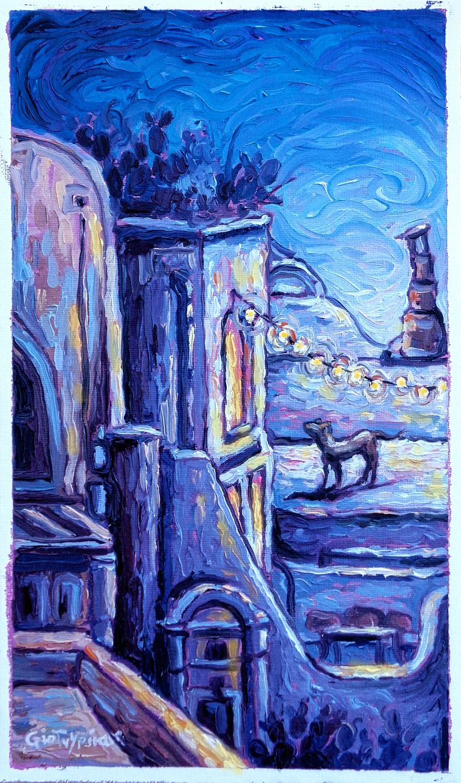 Night lights - Oil on canvas, 30cm x 60cm / Λάδι καμβάς, διαστάσεις 30cm x 60cm #santorini #Oia #oil_painting #night_lights