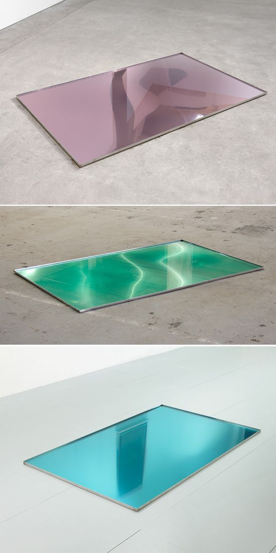 Trays of mouthwash. What? Weird, but pretty captivating. We could do something with reflecting liquids?