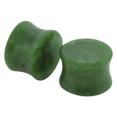Dyed Green Jadeite Double Flared Stone Plug 2g