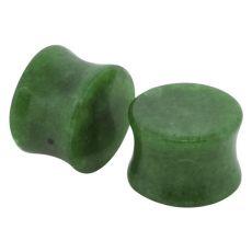 Dyed Green Jadeite Double Flared Stone Plug 2g