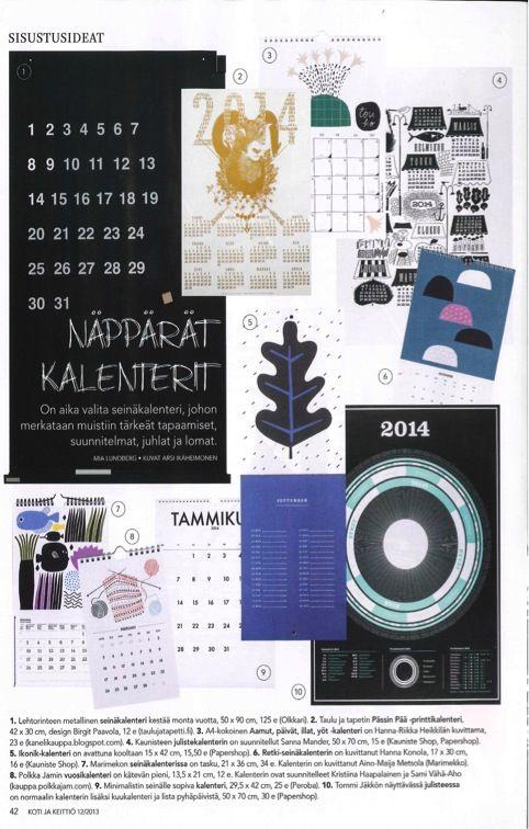 KOTI JA KEITTIÖ 12/2013 Lehtorinteen BOARD CALENDAR