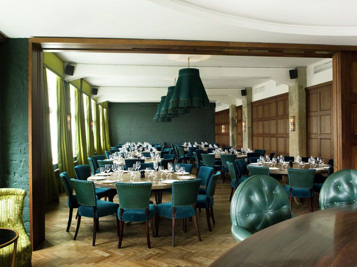 Dramatic dining room at Soho House hotel in Berlin, Germany