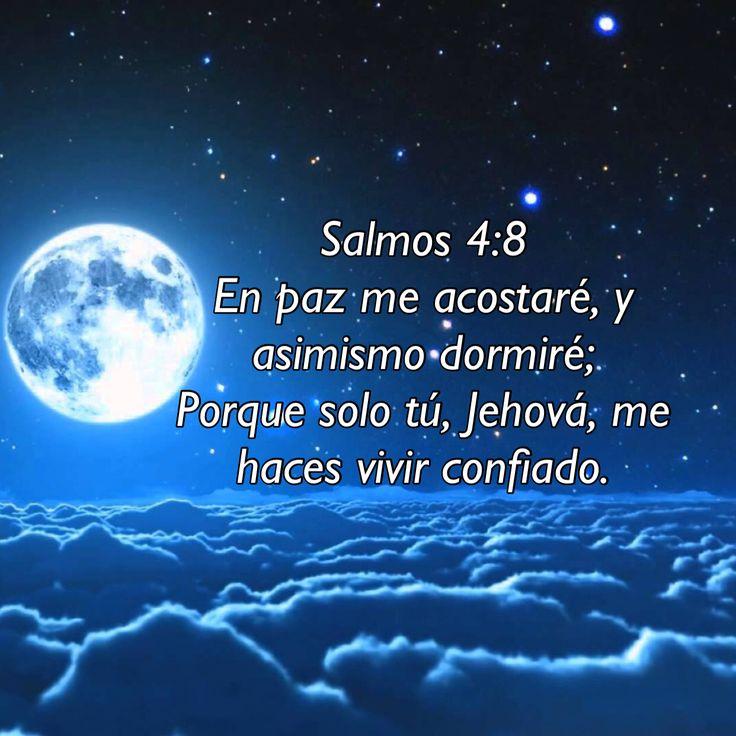 Salmos 4:8  En paz me acostaré, y asimismo dormiré; Porque solo tú, Jehová, me haces vivir confiado.