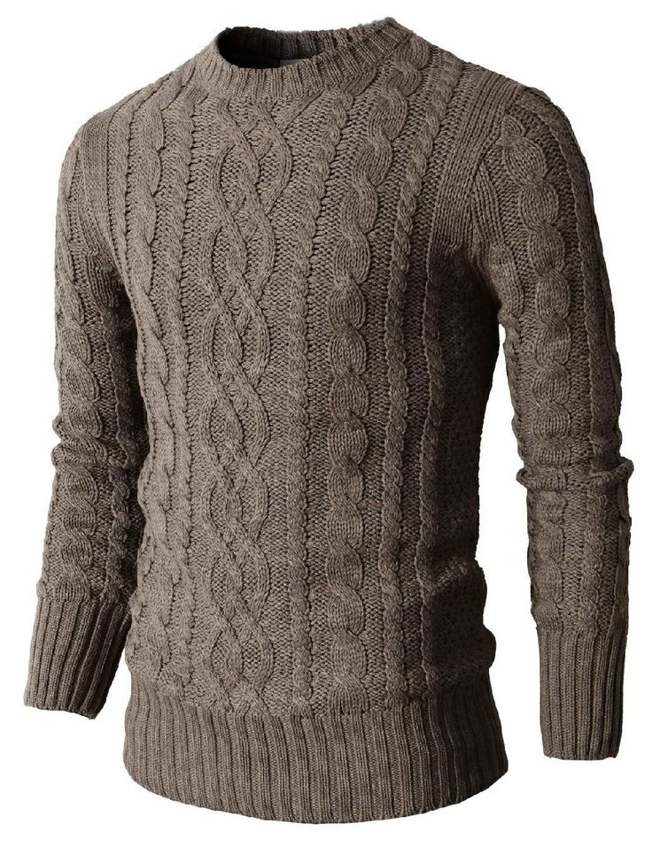 Knitting Patterns For Mens Half Sweaters : Mens Casual Knit Crewneck Pullover Sweater With Twisted ...