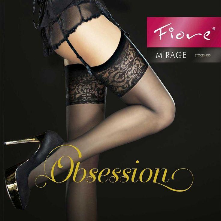 Bas Sexy noir pour porte jarretelle femme lingerie FIORE MIRAGE 2 3 4