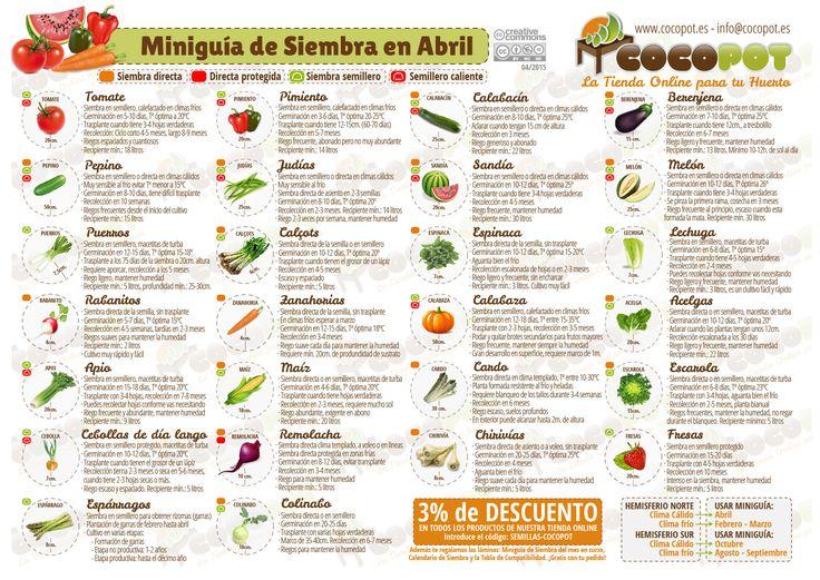 Actualizada la Miniguía de Siembra en abril para tu #huertourbano con más variedades de #semillas y un descuento para este mes en nuestra tienda online, no te la pierdas, es gratis!