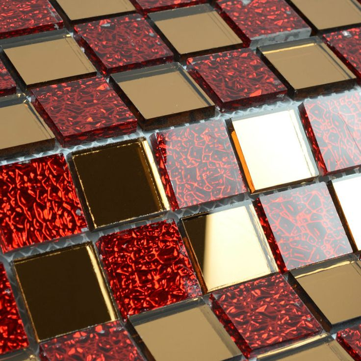 Mirror Tile Backsplash Kitchen Red Glass Mosaic Tile Clear Crystal Mosaics Mirrored Wall Stickers Mirror Mosaic Tiles TEA+RED