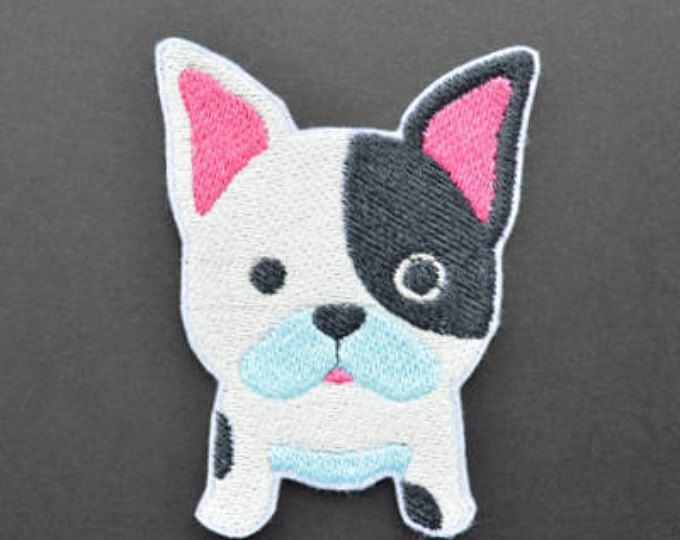Boy French bulldog Iron On  Applique Embroidered Patches Machine Embroidery Design for french bulldog-lover