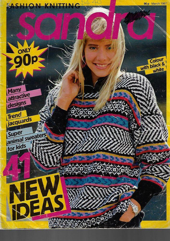 Sandra knitting magazine March 1987 picture knits textured sweater jumper #Sandra