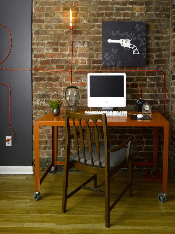 Moeller office brick wallDesks Area, Bricks Wal Workspaces, Bricks Wall, Offices Spaces, Gorgeous Bricks Wal, Home Offices Design, Small Home Offices, Small Homes, Extensions Cords