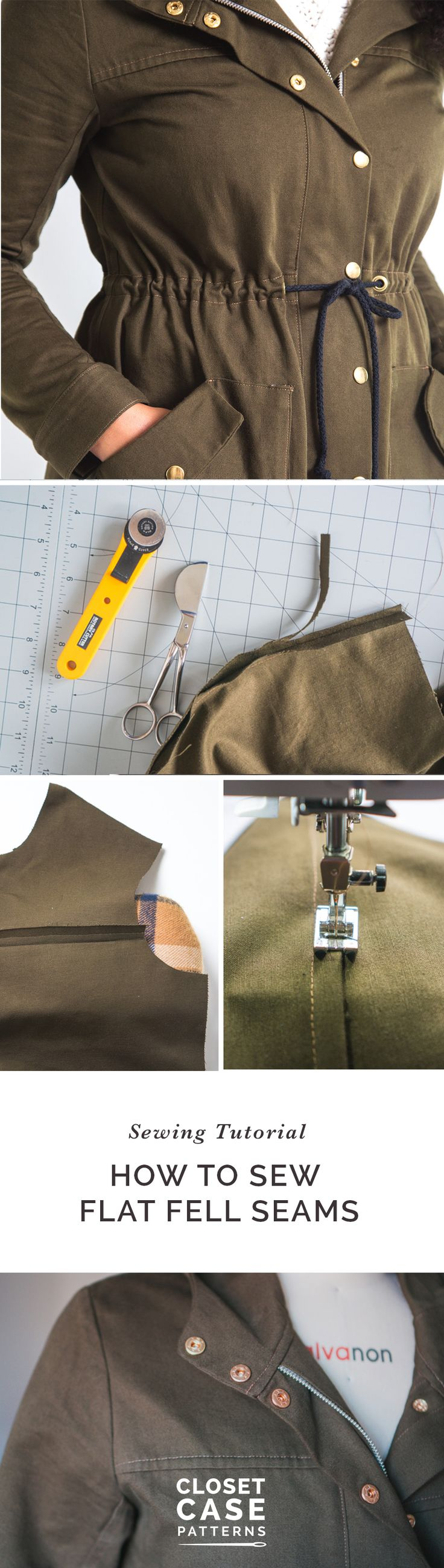 How to sew flat felled seams // Sewing tutorial // Closet Case Patterns https://closetcasepatterns.com/sewalong/sew-flat-felled-seams-kelly-anorak-sewalong/
