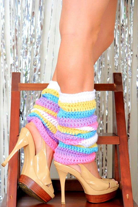 Leg warmers in candy-colored, Caribbean stripes. Handmade by Mademoiselle Mermaid.  https://www.etsy.com/listing/274292352/pastel-rainbow-leg-warmers-colorful