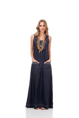 vestidos jeans longos com bolso