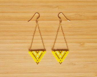Lazos Apache amarillo 14 Kilates de oro plateado y cristal Miyuki