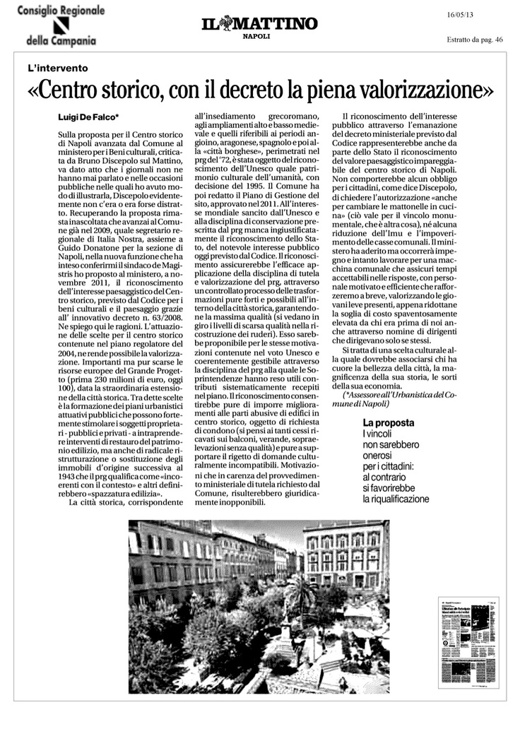 centro storico - de falco propone la valorizzazione