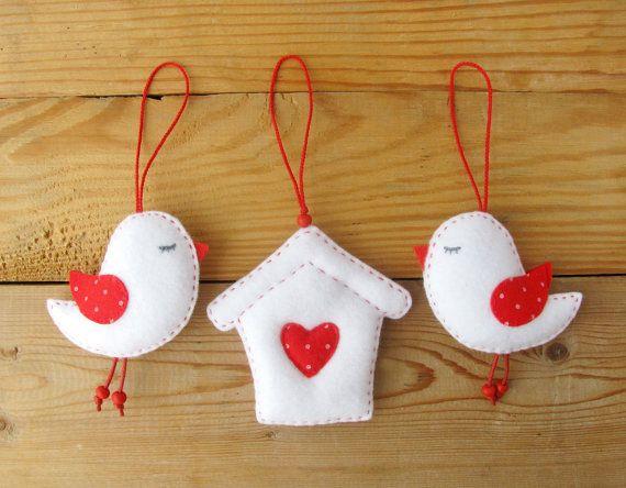 Felt Bird Ornaments Felt Birdhouse Set of 3 by HandmadeByHelga