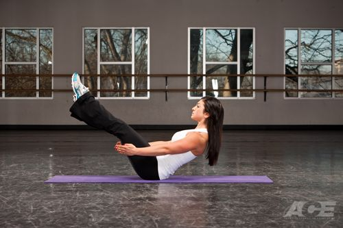 Brace your abs and hold the V for 60 seconds – it's an effective way to build a tight belly and sculpt your lower abs.