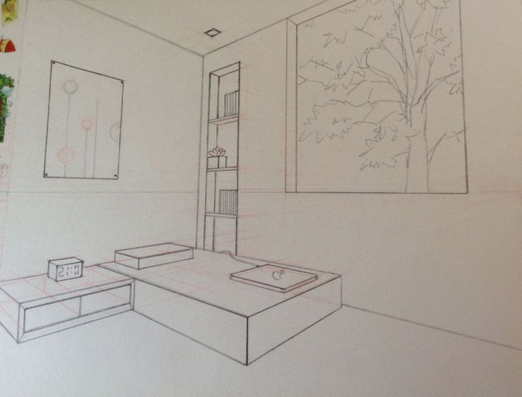 Two-Point Perspective (2015) Medium: graphite pencil, red pencil and ruler