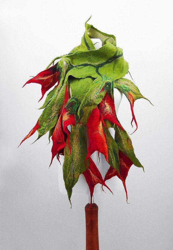 Felted Scarf Nunofelt Scarf Flower Scarf Green Shawl Felt Wrap Art Shawl Nuno felt Fiber Art on Etsy, $179.40 CAD