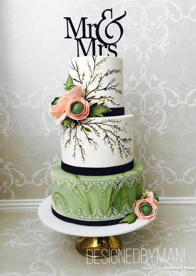 Mr & Mrs wedding cake by designed by mani - http://cakesdecor.com/cakes/304172-mr-mrs-wedding-cake