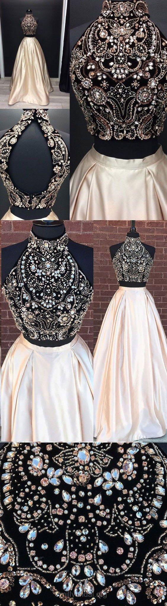 Ball Gown Prom Dresses, Two Piece Prom Dresses, Long Prom Dresses, 2018 Prom Dresses For Teens, High Neck Prom Dresses Satin, Modest Prom Dresses Beading #promgowns