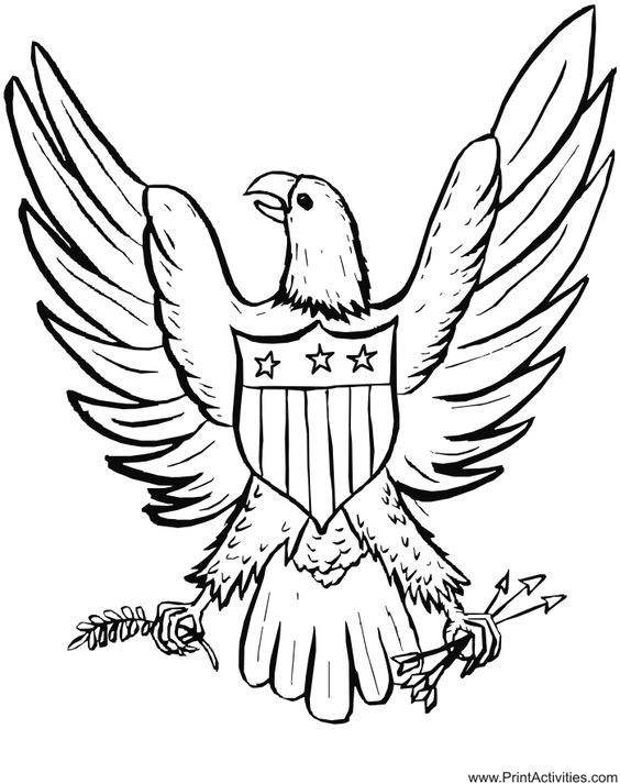 Beautiful Eagle Coloring Book 74 Free Printable July Coloring
