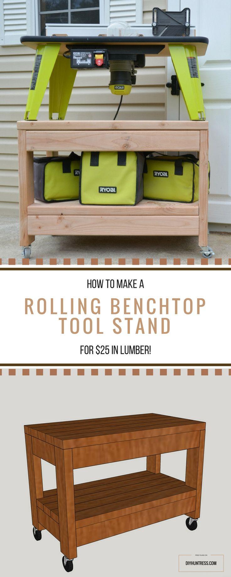 DIY Rolling Benchtop Tool Stand – DIY Huntress