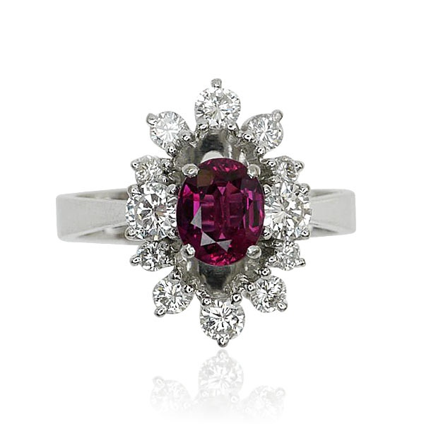 Ruby Ring Diamonds   Rubin Diamant Ring mit 0,971ct Rubin, 0,822ct Diamanten in 750 Weissgold