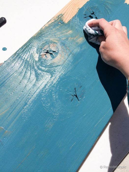This color-washing technique is one of my favorites: stain wood any color while still leaving the wood grain visible!