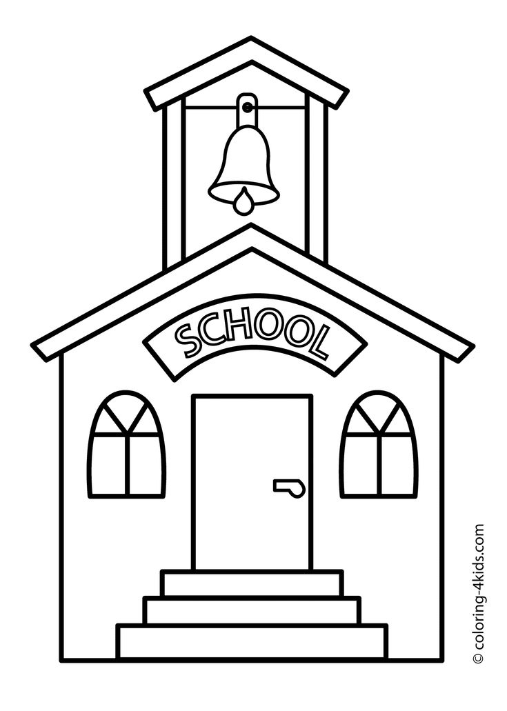 School building coloring page, classes coloring page for