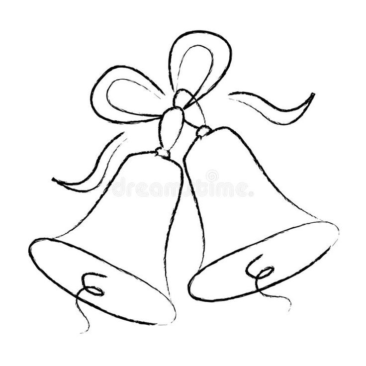 Wedding Bells Outline Illustration Of Wedding Christmas Bells With Ribbons Is Aff Illustration Wedding Bells Clip Art Christmas Bells Drawing Bell Art