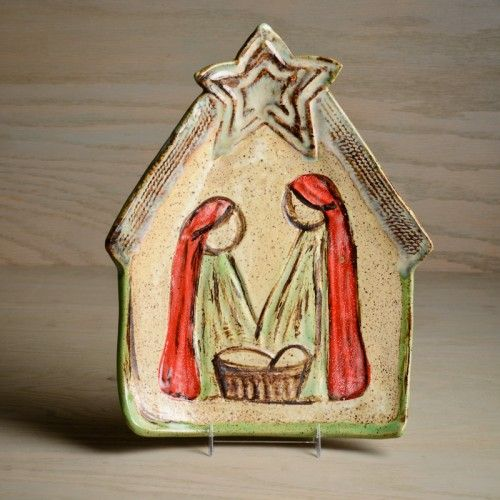 Nativity Scene Plate by Etta B Pottery Jesus Christ the Messiah Born on Earth to Save His Creation if they will except!!! :) Happy Happy Day!!!