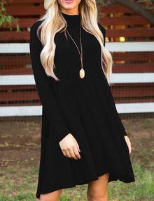 Black Stand Collar Long Sleeve Loose Dress
