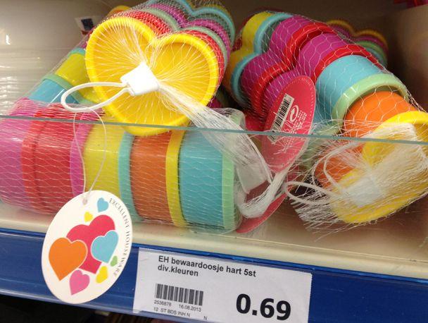 Action hart plastic bewaardoos bewaardoosjes bakjes harten for Gekleurd papier action