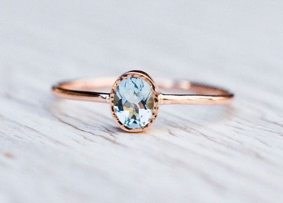Aquamarine engagement ring in 14k Rose Gold Valentine's by ARPELC