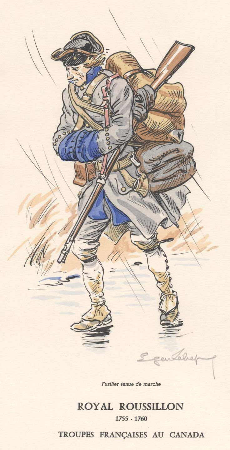 French Army in Canada; Infantry Regiment Royal Roussillon Fusilier in tenue de march, 1755-60
