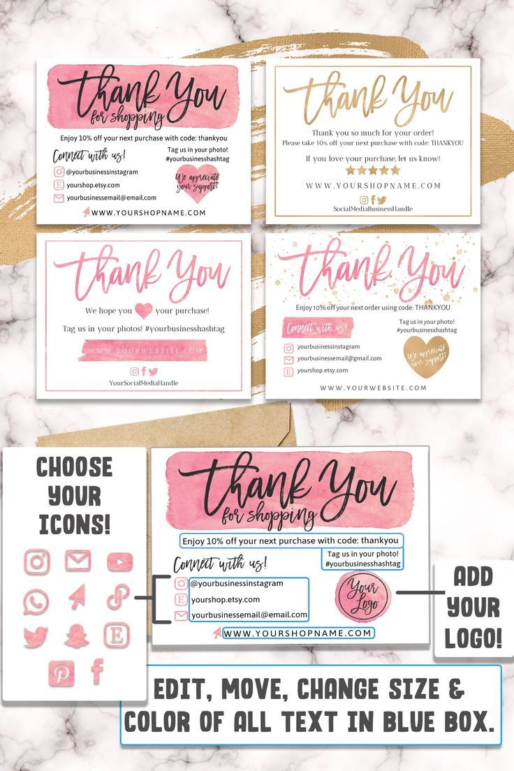 FOUR (4) DIY Printable Small Business Thank You Card