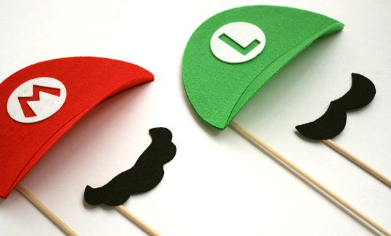 Super Mario. Photo Props. Nintendo. Party Props. Luigi Props. Photo booth. Mustache. Mario Mustache. Props - The Smash Brothers Maro Kit
