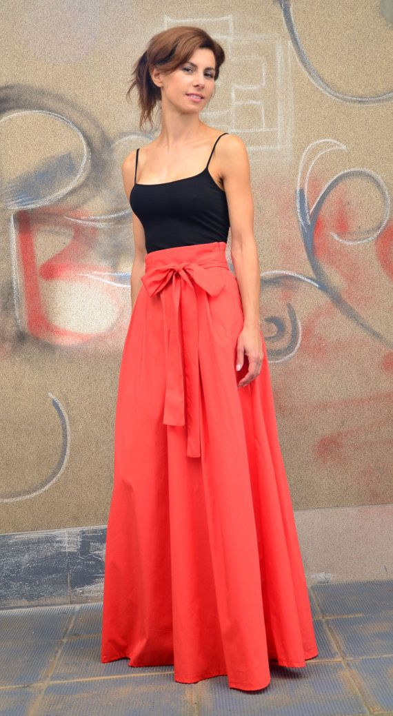 Coral Long Maxi Skirt / Cotton Maxi Skirt by EvoletFashion on Etsy