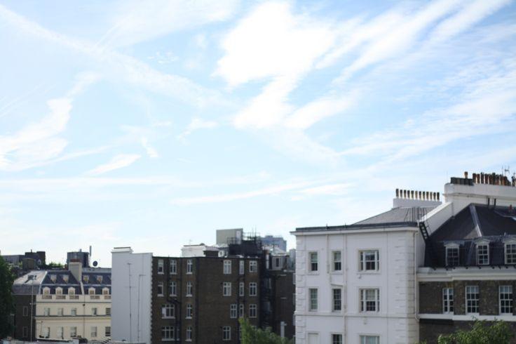 London rooftops, blue sky