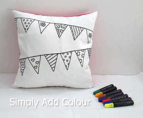 Bunting Design Colouring-In Cushion Cover by SimplyAddColour