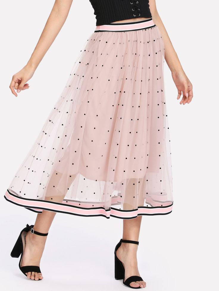 Shop Striped Tape Trim Dotted Mesh Skirt online. SheIn offers Striped Tape Trim Dotted Mesh Skirt & more to fit your fashionable needs.